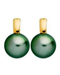 Boucles D'oreilles Perle Culture Tahiti 8-8,5mm Or Jaune 750 millièmes