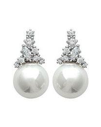 Boucles D'oreilles Argent 925 Rhodié Oxyde De Zirconium Imitation Perle