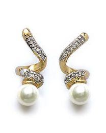 Boucles D'oreilles Plaqué Or Bicolore Oxyde De Zirconium Imitation Perle