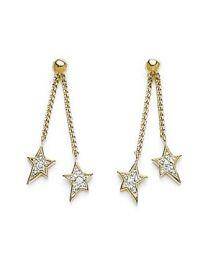 Boucles D'oreilles Plaqué Or Bicolore Oxyde De Zirconium étoiles