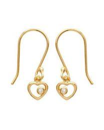 Boucles D'oreilles Plaqué Or Oxyde De Zirconium coeur