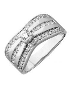Bague Diamants 0,80 Ct Hsi Or Blanc 750 millièmes
