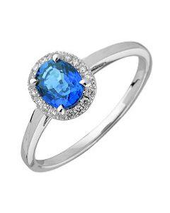B Argent Saphir 0,79ct Diamant 0,08ct Or Blanc 750 millièmes